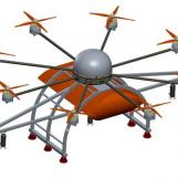 Concepttekening van een onbemand vliegtuig met MANKAR® ULV-spuitsysteem